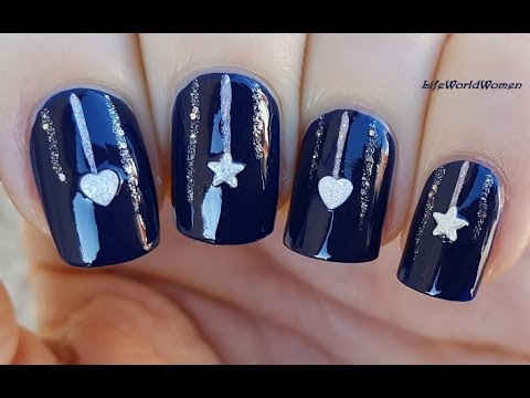 elegant dark blue christmas nails with sparkle ornaments design - Blue Christmas Nails