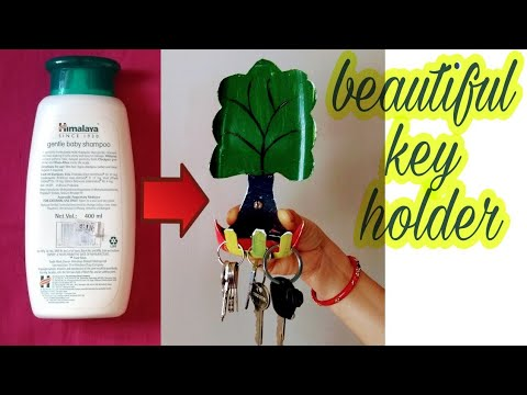 how to make key holder/best out of waste craft/unique home decor ideas/plastic bottle reuse idea