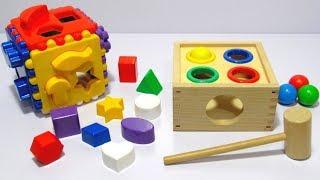 Учим цвета и фигуры на английском языке с развивающими игрушками забивалкой и сортером.