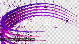 Colorful Music Notes Strokes 3D animation Overlay Transition