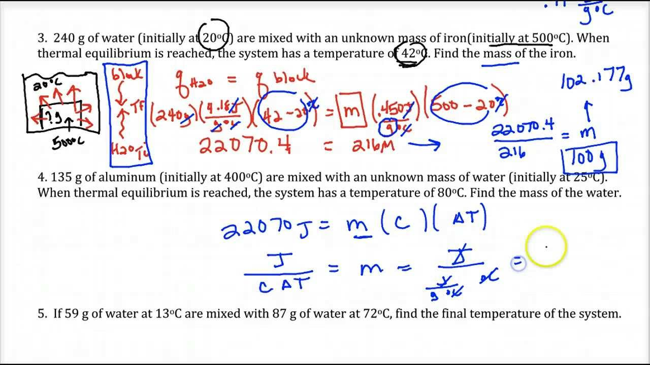 Lecture 1 14 Review Of Simple Calorimetry Problems Youtube