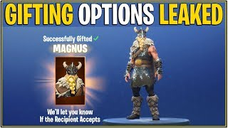 Fortnite : LEAKED GIFTING OFFICIAL FEATURES! (Skins In Item Shop SEULEMENT Giftable..)
