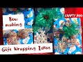 CHRISTMAS GIFT WRAPPING IDEAS; HOW TO MAKE A BOW; ATTACHING ORNAMENTS, BELLS, and BOWS TO PRESENTS