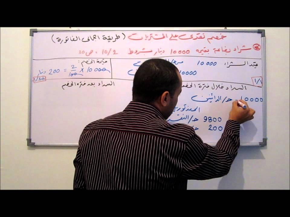 المحاسبة المالية 13 - الخصم النقدي