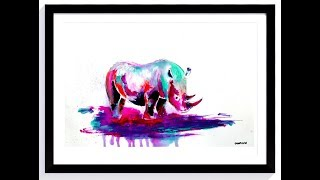 LEARN HOW TO DRAW AND PAINT RHINO WITH PENCIL AND ACRYLIC PAINT ON PAPER BY DRANITSIN