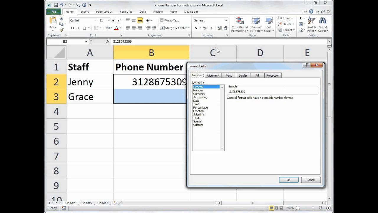 excel phone number formatting