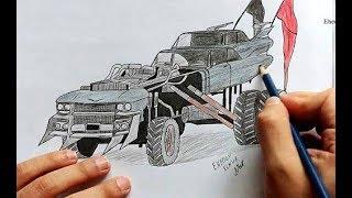 Как нарисовать машину из фильма Безумный Макс (Mad max) Drawing a car from Mad Max