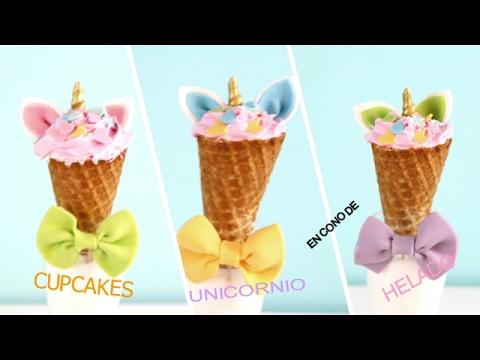 Cupcakes unicornio en cono de helado youtube - Calorias de un cono de helado ...