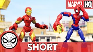 "Spidey & Iron Man Spring Into Action | Hasbro Marvel Bend and Flex ""The Lunch Break"" 