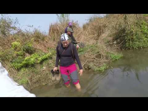 Crossing a Crocodile River in Nepal