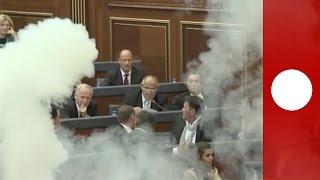 Tear gas fired inside Kosovo parliament