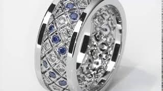 Обручальное кольцо из белого золота бриллианты, сапфиры