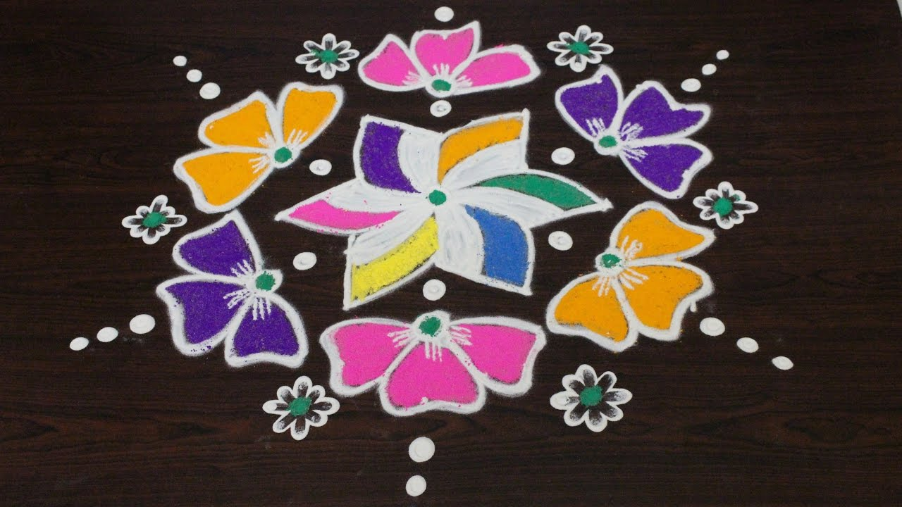 easy rangoli art designs with 7 to 4 interlaced dots ...