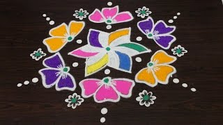 easy rangoli art designs with 7 to 4 interlaced dots || kolam designs with dots || muggulu designs