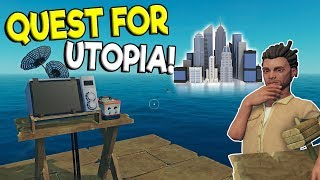 SEARCH FOR THE SECRET UTOPIA ISLAND & RAFT HOTEL! - Raft Survival Multiplayer Gameplay - Raft Game
