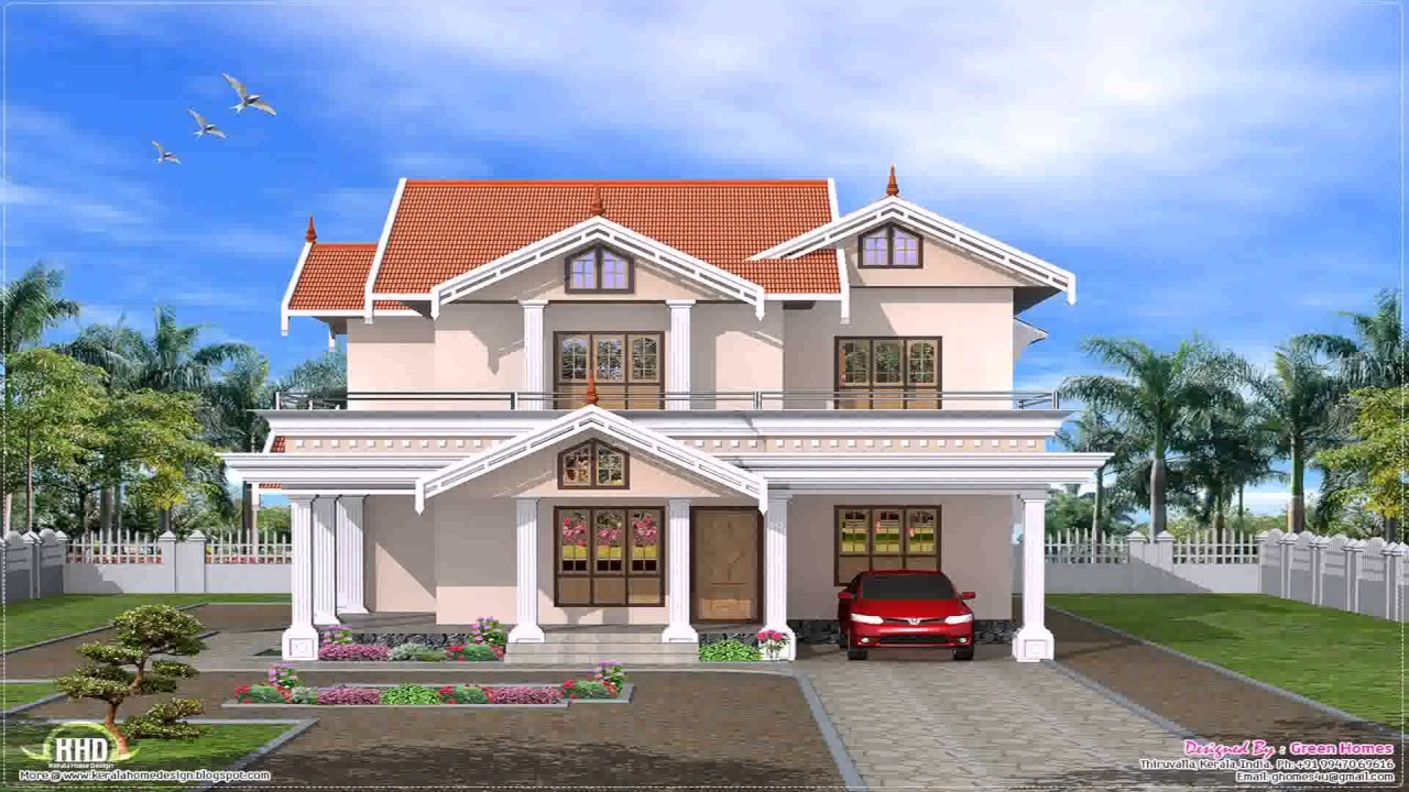 Kerala style house front elevation youtube for Home designs 12m frontage