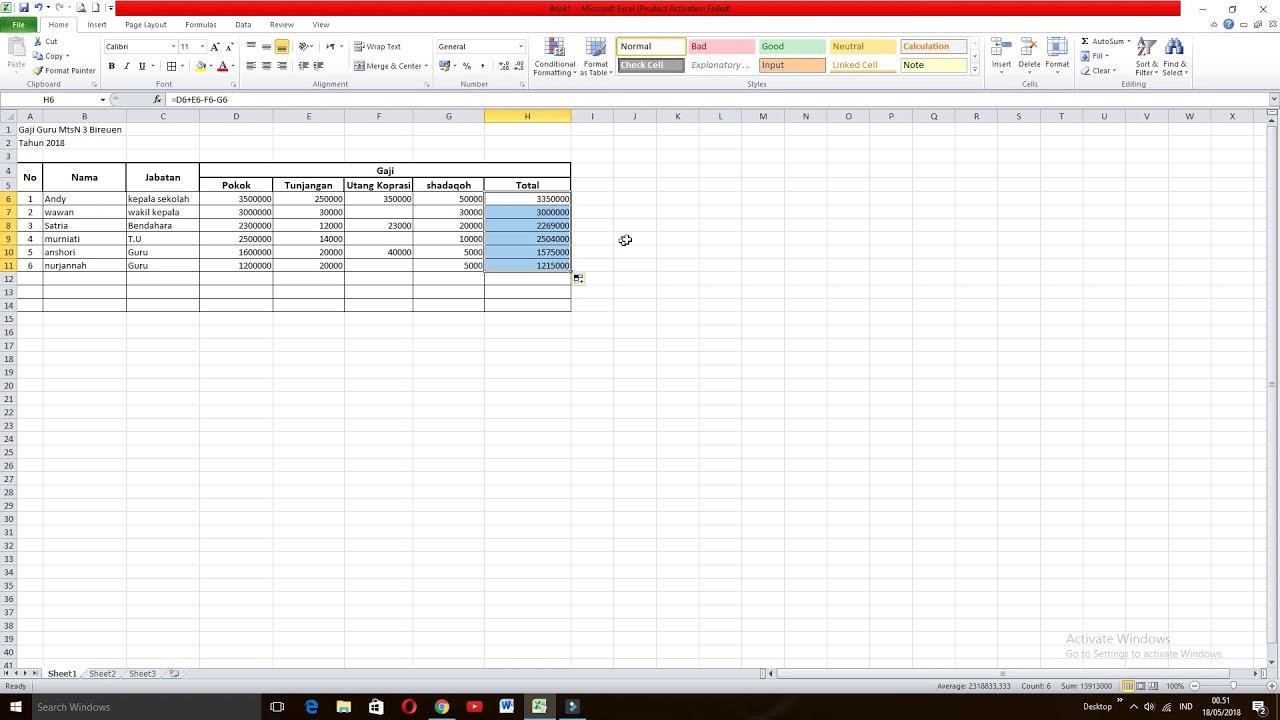 Cara Menghitung Gaji Karyawan & Guru Di Excel - YouTube