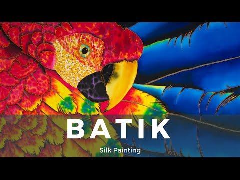 BATIK SILK PAINTING WITH JEAN-BAPTISTE – FINE ART –  SCARLE MACAW