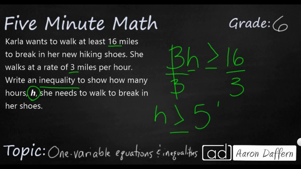6th Grade Math - Writing One-variable Equations and Inequalities