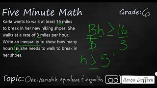 6th Grade Math One-Variable Equations and Inequalities