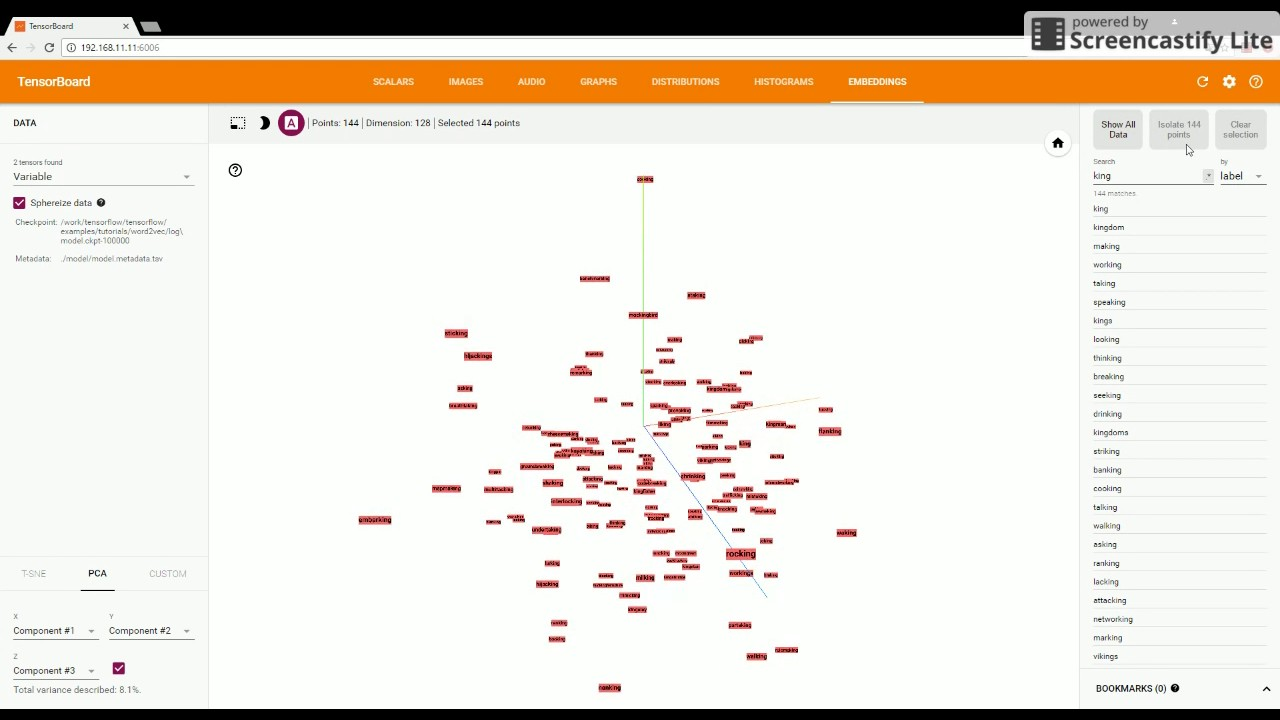 TensorBoard: Embedding Visualization | TensorFlow - Word2Vec sample