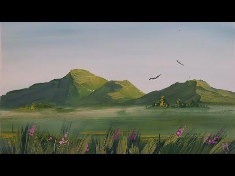 Как нарисовать горы красками