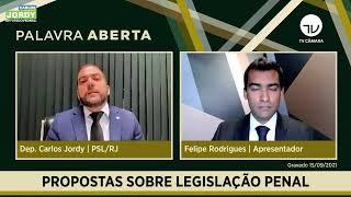 Carlos Jordy explica propostas para atualizar legislação penal - 15/09/202.