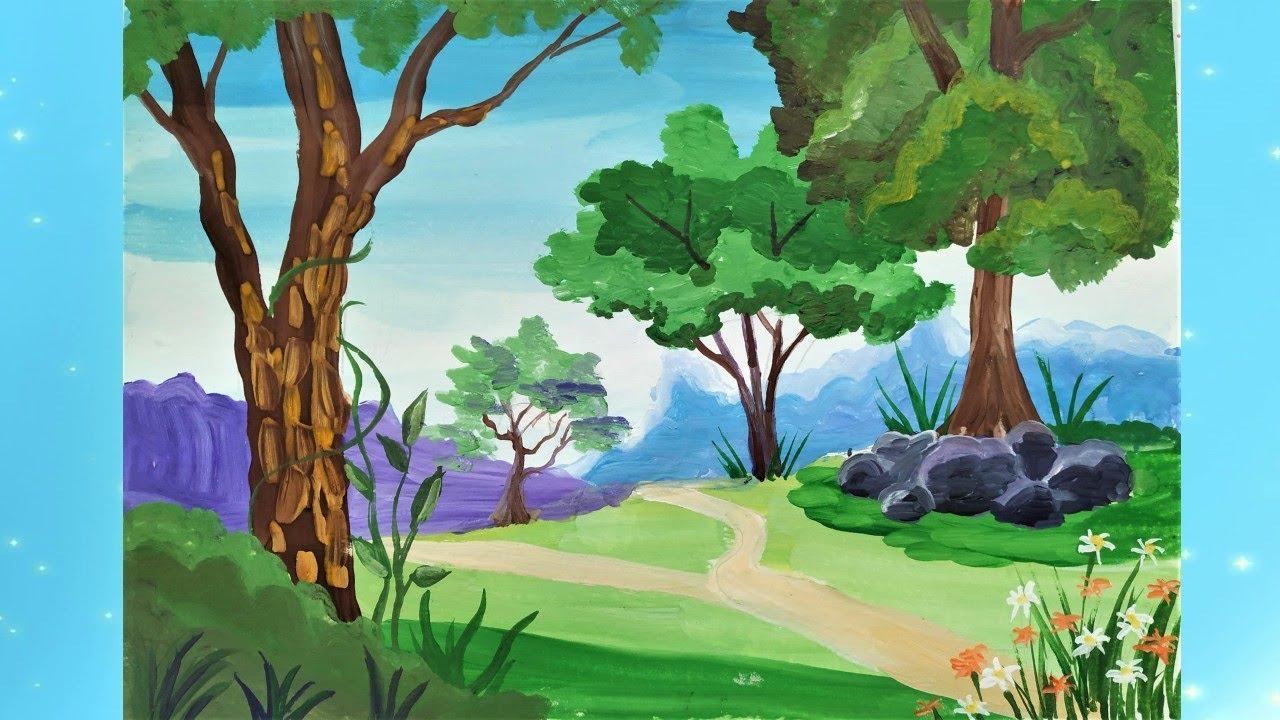 С объяснением! Как просто нарисовать летний пейзаж. Paint summer.