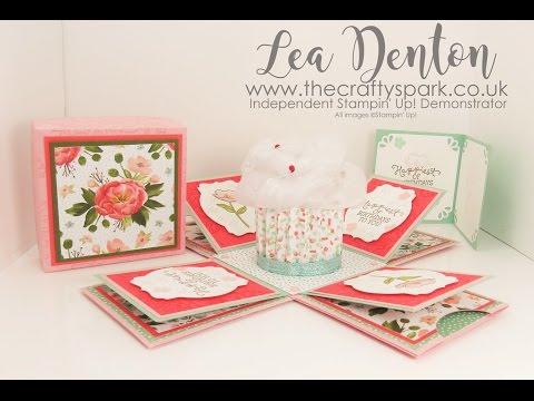 Stampin' Up! Demonstrator Lea Denton - Cupcake Exploding Box Card Birthday Blooms | part 1