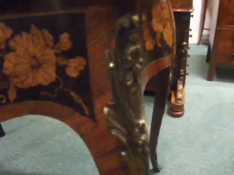 French Victorian floral marquetry desk at Hingstons antiques