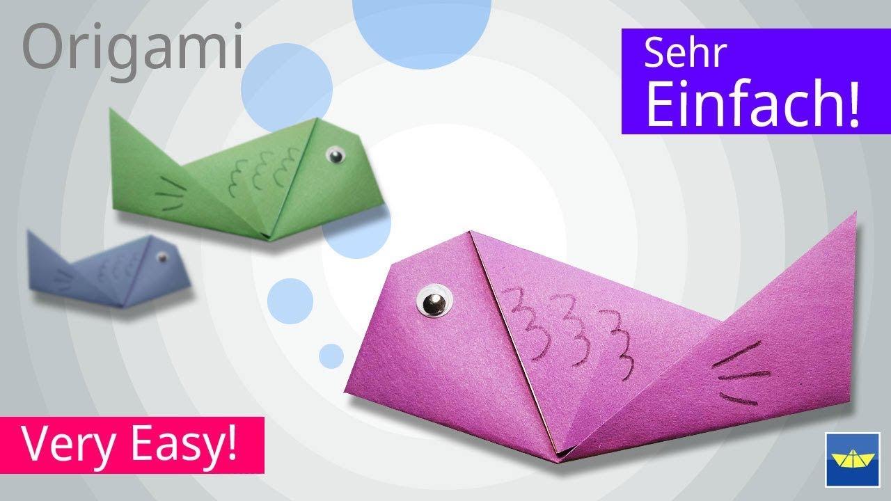 origami fisch f r kinder basteln mit papier. Black Bedroom Furniture Sets. Home Design Ideas