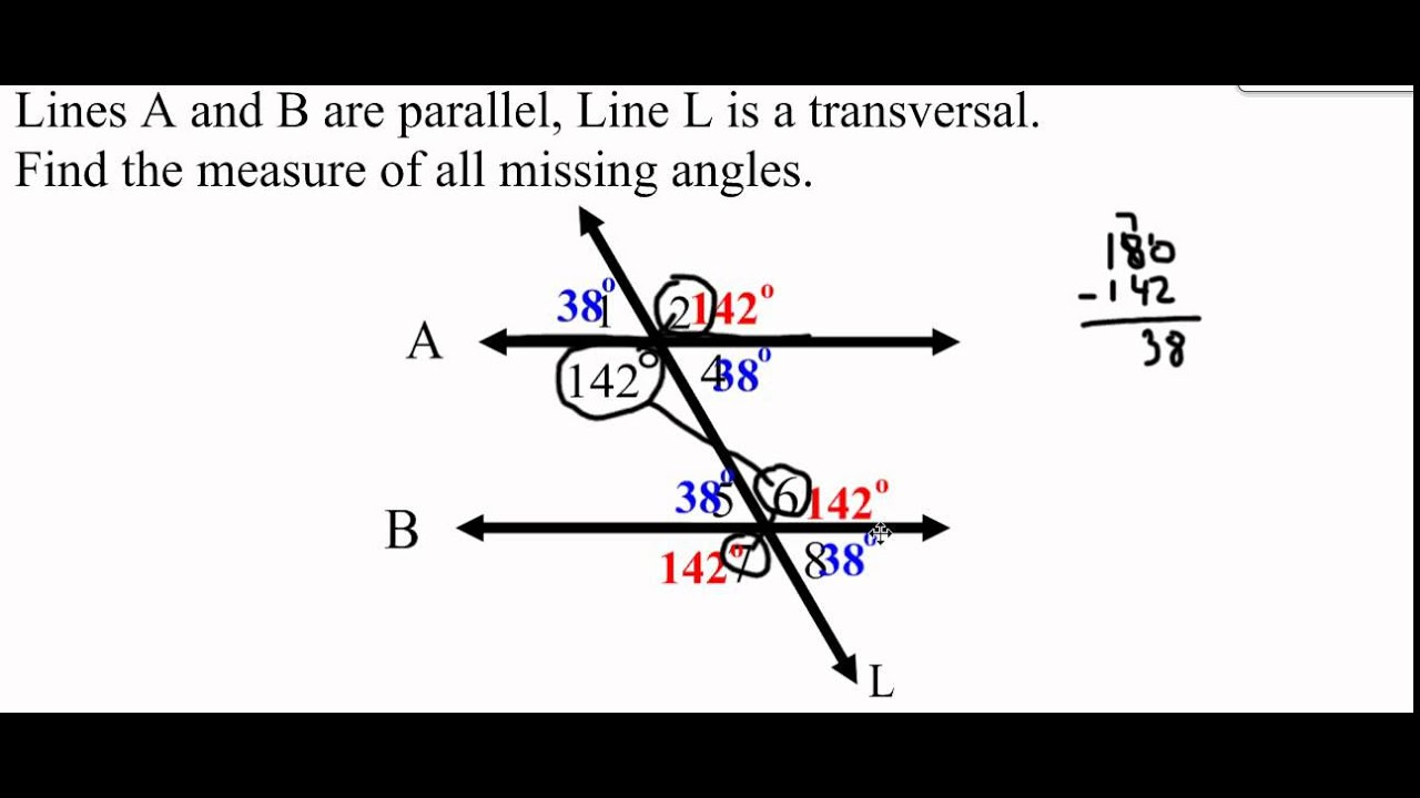 VIDEO - Finding Missing Angles in Parallel Lines - YouTube