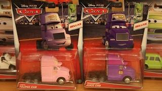 Mattel Disney Cars 2017 Deluxe Case K Transberry Juice Cab, Vinyl Toupee Cab, Charlie Cargo, Brian