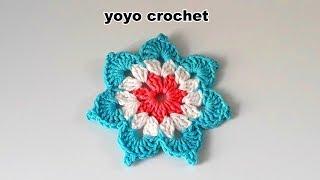 ورد كروشية : وردة كروشية سهلة وبسيطة للمبتدئين - crochet flowers#يويو كروشية#