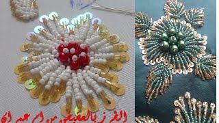 وردة  - تعليم الطرز بالعقيق المهرس والموزون مع ام عمران- tarz mozon