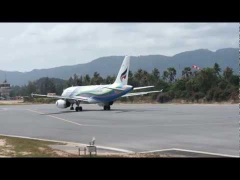 Bangkok Airways Airbus 319, take off Koh Samui Airport, Thailand