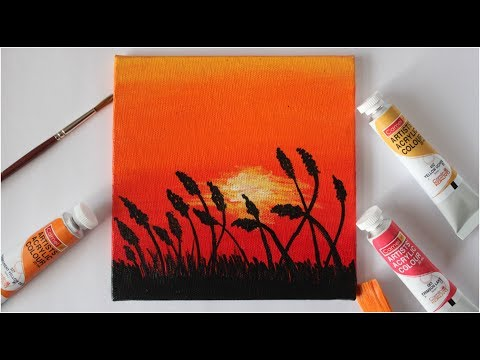 Easy Sunset Acrylic Painting for Beginners / Step by Step Tutorial