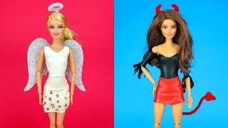 😇😈 DIY Barbie Outfits Good vs. Bad Barbie Halloween Costume Making Easy No Sew Clothes for Barbies
