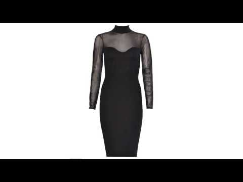 Women Ladies Polo Neck Long Sleeve Mesh Lace Heart Bodycon Midi Party Dress 8-14 by Fashions Angel