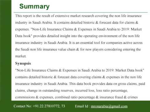 Non-Life Insurance Claims and Expenses in Saudi Arabia to 2019: Market Data book