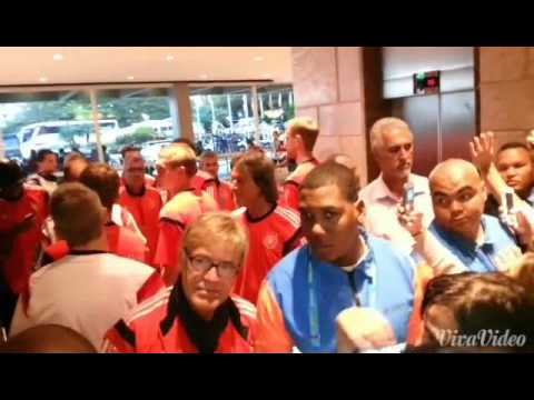 German team arriving at the hotel in Rio - World Cup 2014