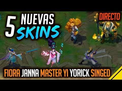 5 NUEVAS SKINS - Janna, Yorick, Singed, Maestro Yi y Fiora | Noticias League Of Legends LOL