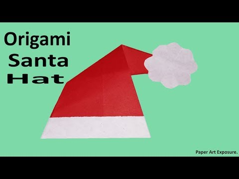 Easy origami santa hat from simple paper | Diy santa hat origami paper | How To