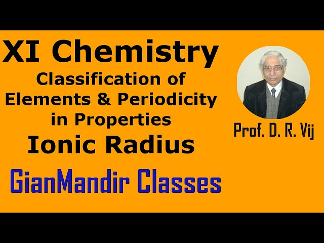 XI Chemistry | Classification of Elements and Periodicity in Properties |Ionic Radius by Ruchi Ma'am