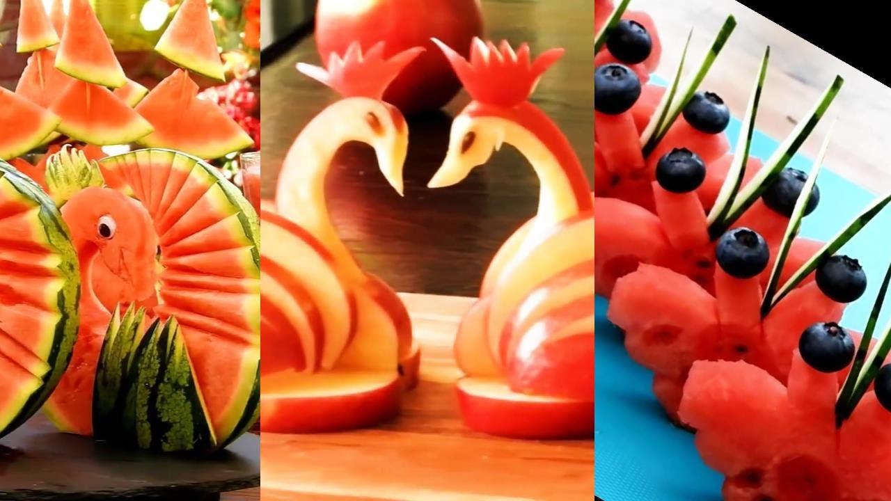 10種水果雕刻技法步步学 | 创意水果拼盘雕刻 | 家宴盘饰