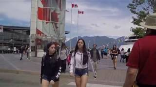 Downtown Vancouver Canada - Walking from East Cordova to Hastings Street to Canada Place