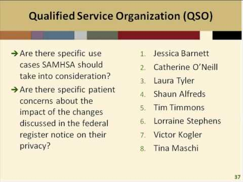 Public Listening Session: 42 CFR Part 2 -- Qualified Service Organization (QSO) Provision