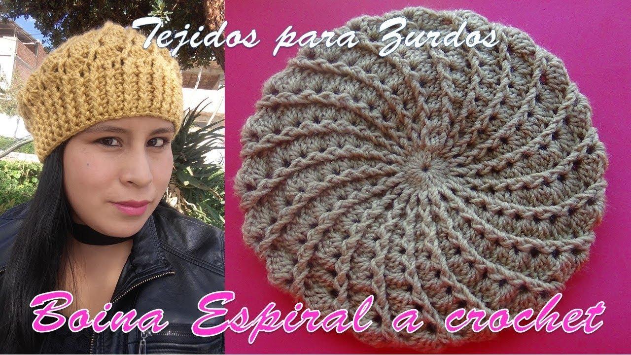 0c42adf4cf873 Boina a crochet en punto Espiral y relieves paso a paso en video tutorial (  ZURDOS )