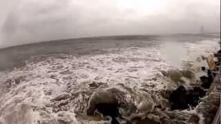 Hurricane Sandy. NYC, Brooklyn, caesars bay, 8 am. First view near ocean.GoPro HD HERO 2