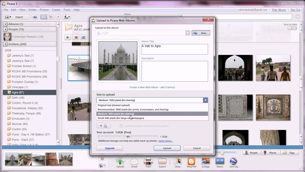 Uploading Photos to Picasa Web Albums
